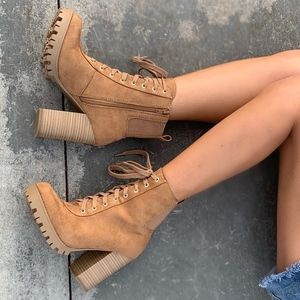 Tan Faux Suede Lace Up Stacked Block Heel Ankle